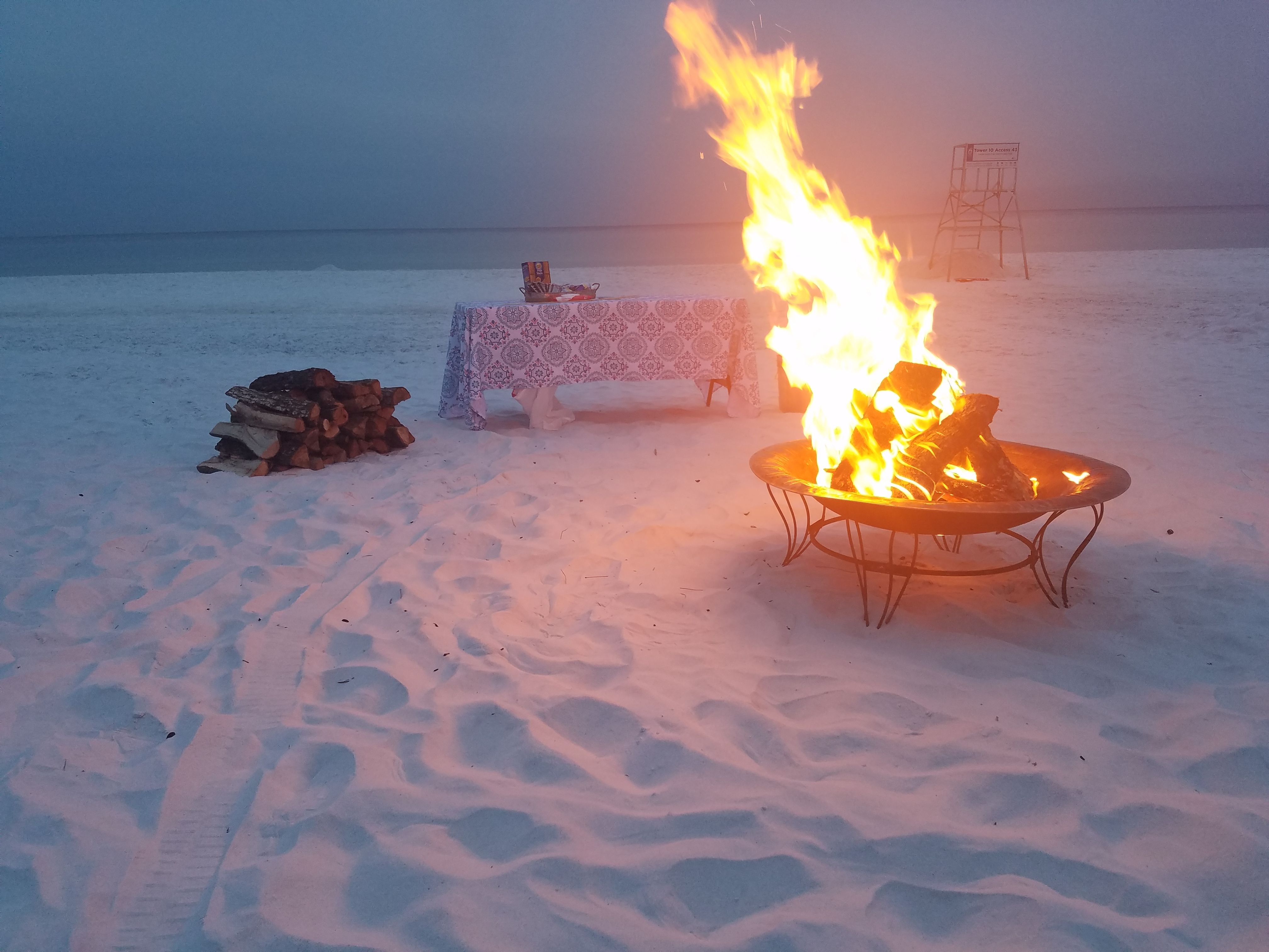 Basic beach fire with table and smores The Rental Shop 30A