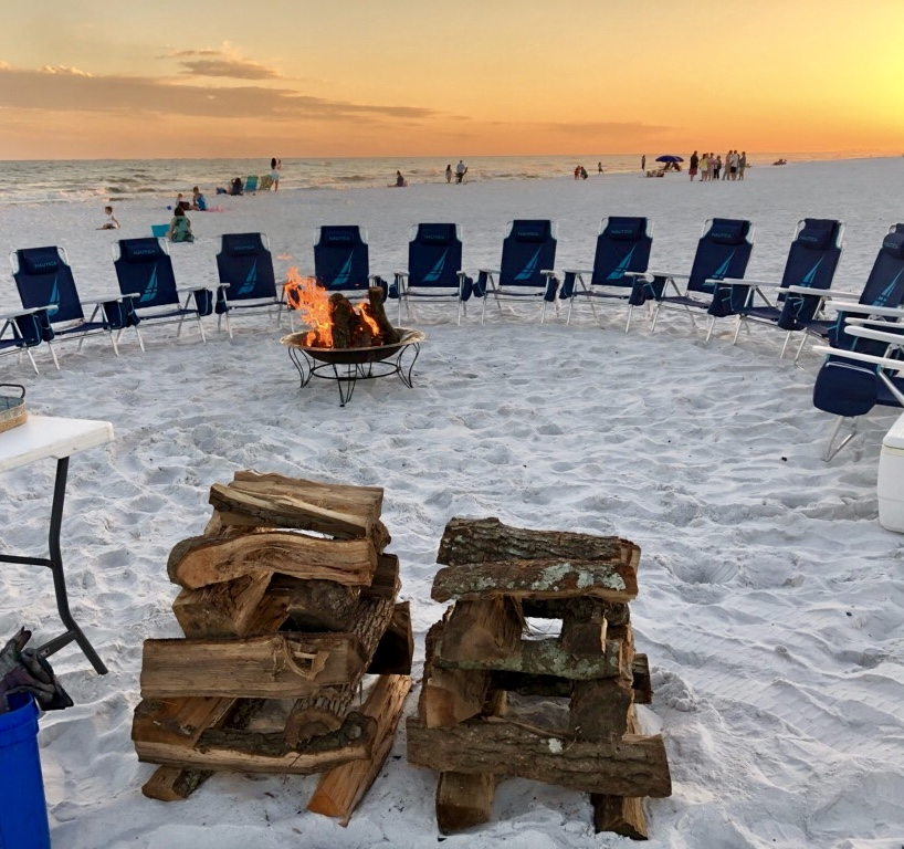 The Rental Shop 30A Beach Bonfire with nautica chairs