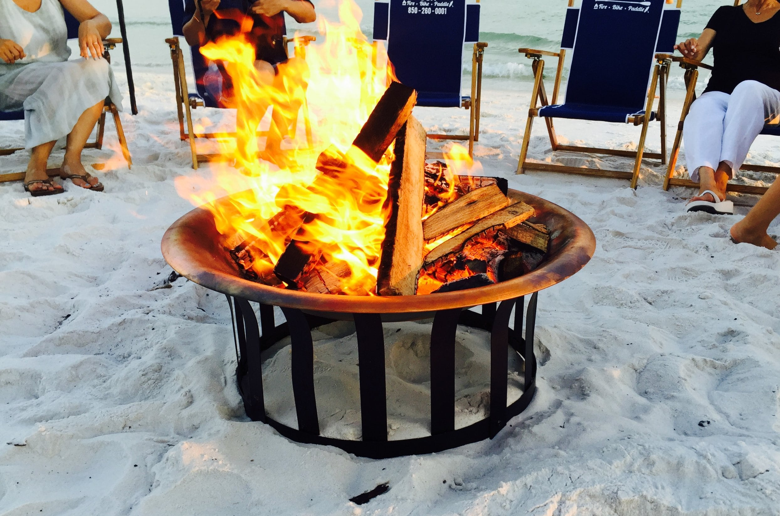 XL beach fire with table and smores The Rental Shop 30A